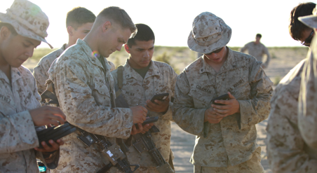 Marines using cell phone
