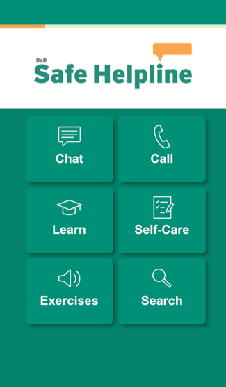 Safe Helpline app home screen
